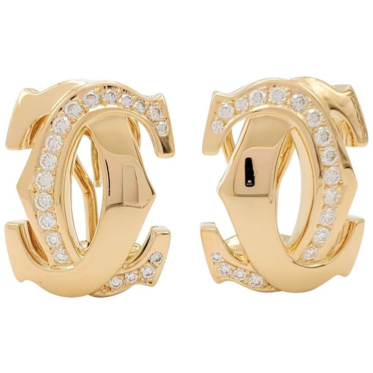 Cartier 'Penelope' Double-C Yellow Gold and Diamond Earrings For Sale