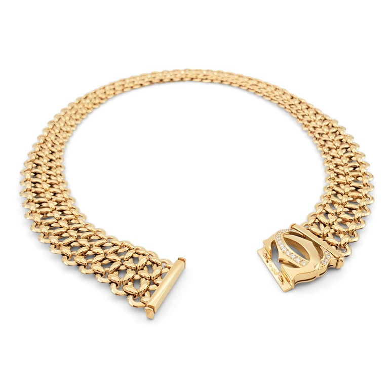 Round Cut Cartier 'Penelope' Double-C Yellow Gold and Diamond Necklace For Sale