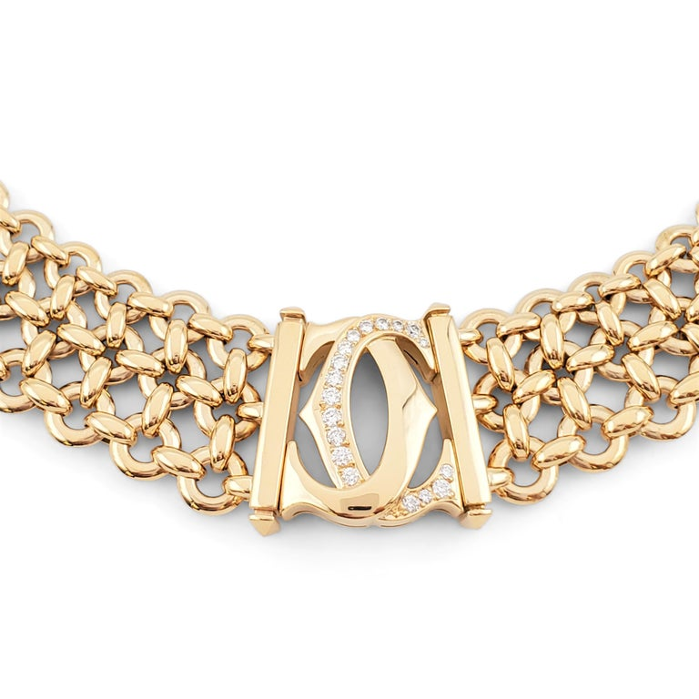 Cartier 'Penelope' Double-C Yellow Gold and Diamond Necklace In Excellent Condition For Sale In New York, NY
