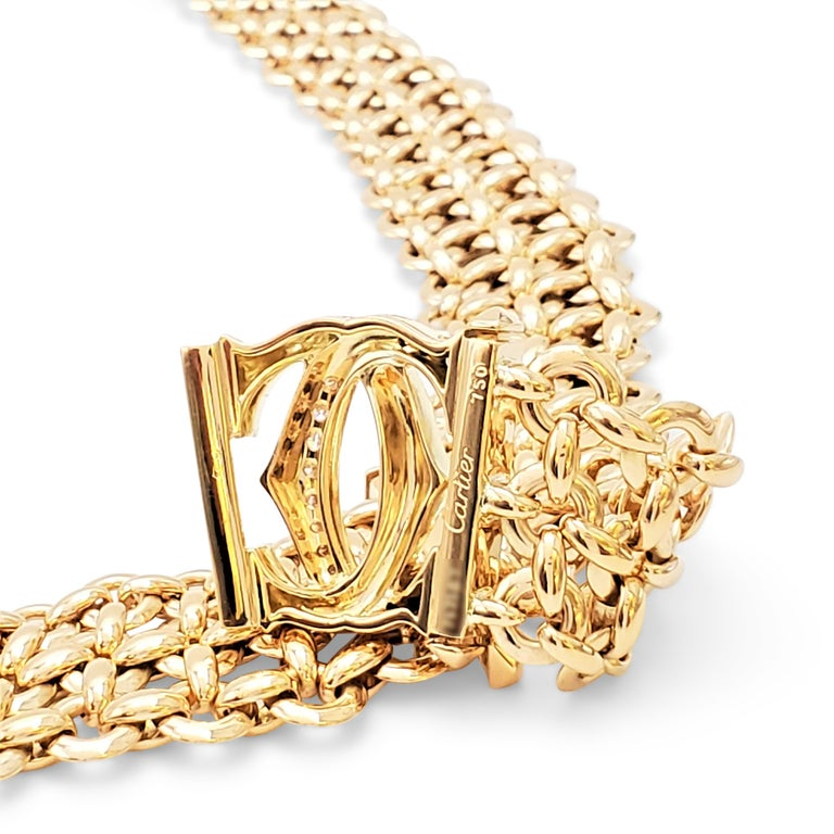 Women's or Men's Cartier 'Penelope' Double-C Yellow Gold and Diamond Necklace For Sale