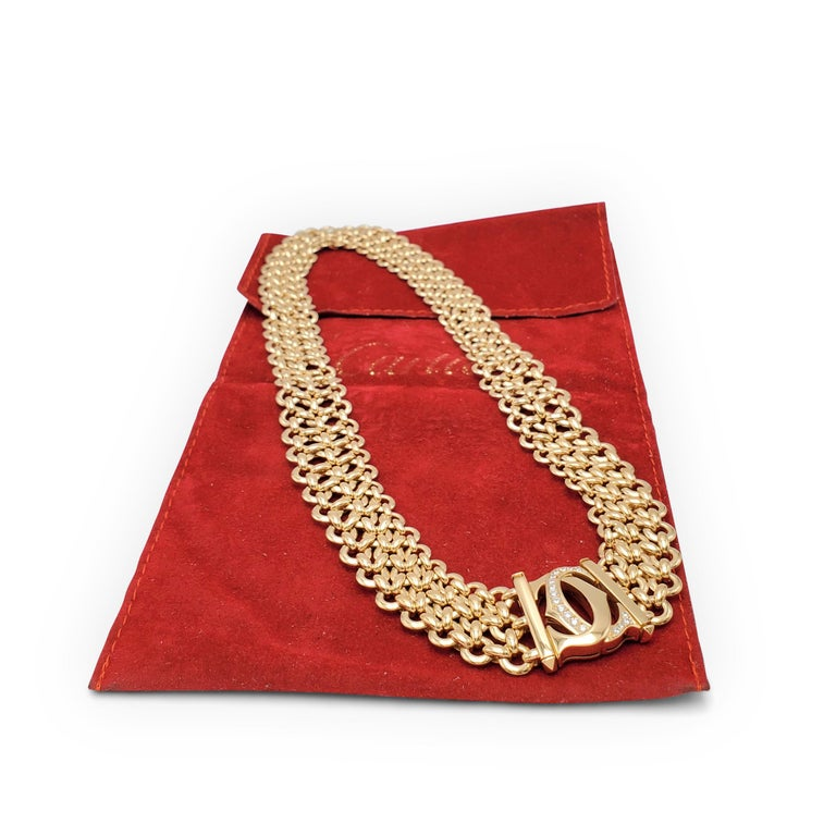 Cartier 'Penelope' Double-C Yellow Gold and Diamond Necklace For Sale 1