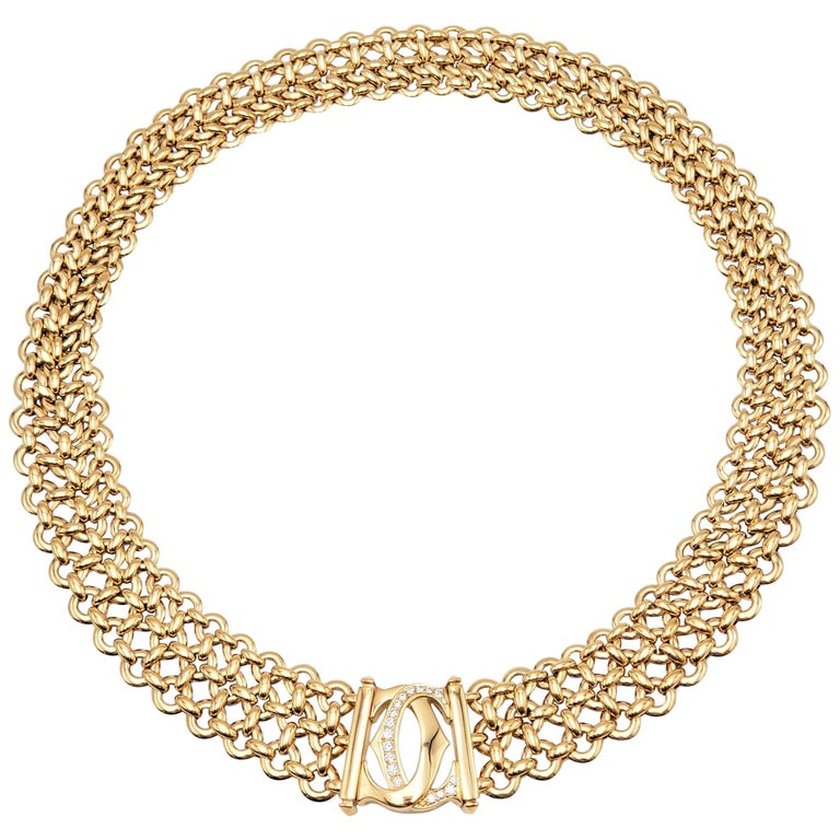 Cartier 'Penelope' Double-C Yellow Gold and Diamond Necklace For Sale