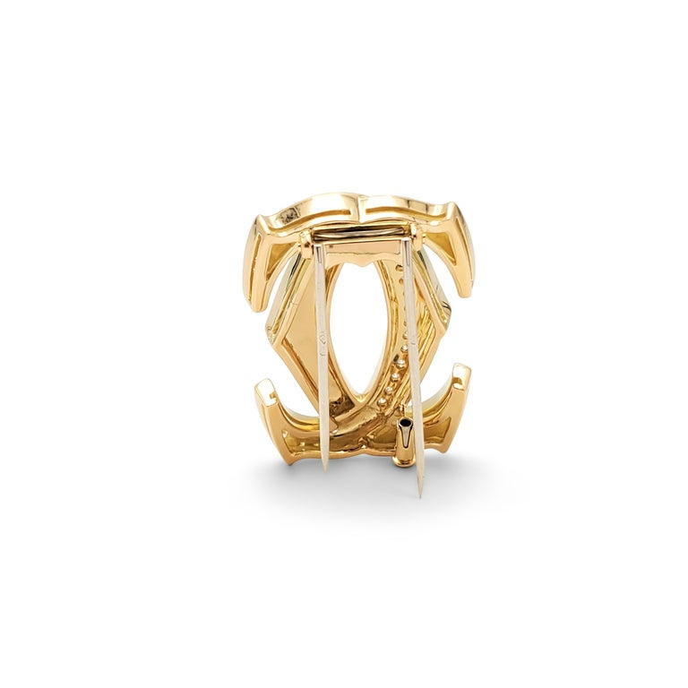 Women's Cartier 'Penelope' Double-C Yellow Gold and Diamond Pin For Sale