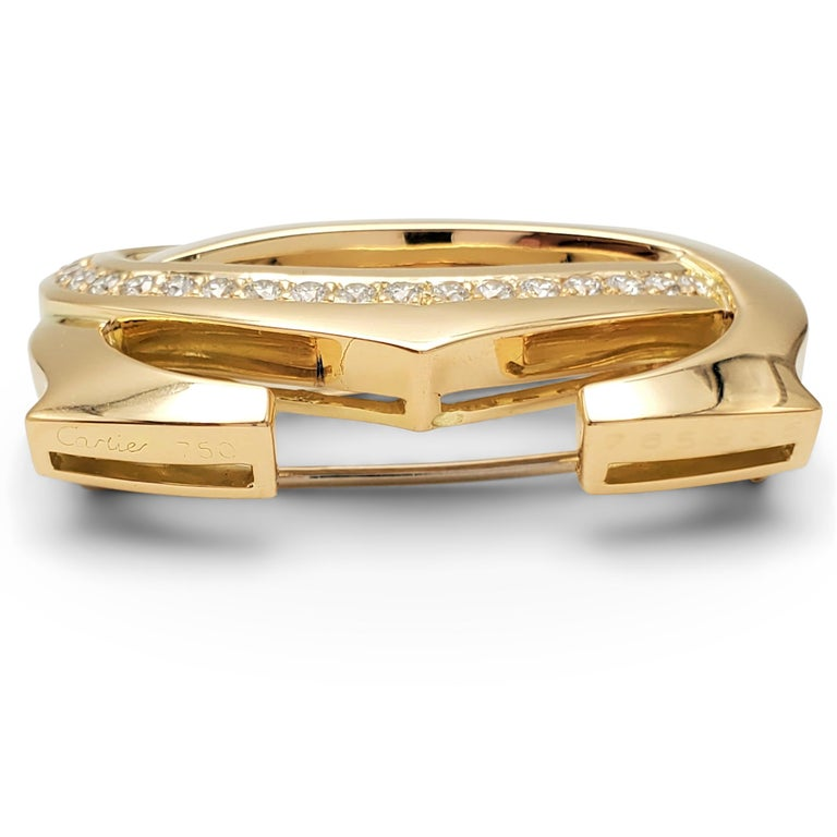 Cartier 'Penelope' Double-C Yellow Gold and Diamond Pin For Sale 2