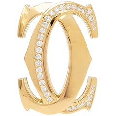 Cartier 'Penelope' Double-C Yellow Gold and Diamond Pin