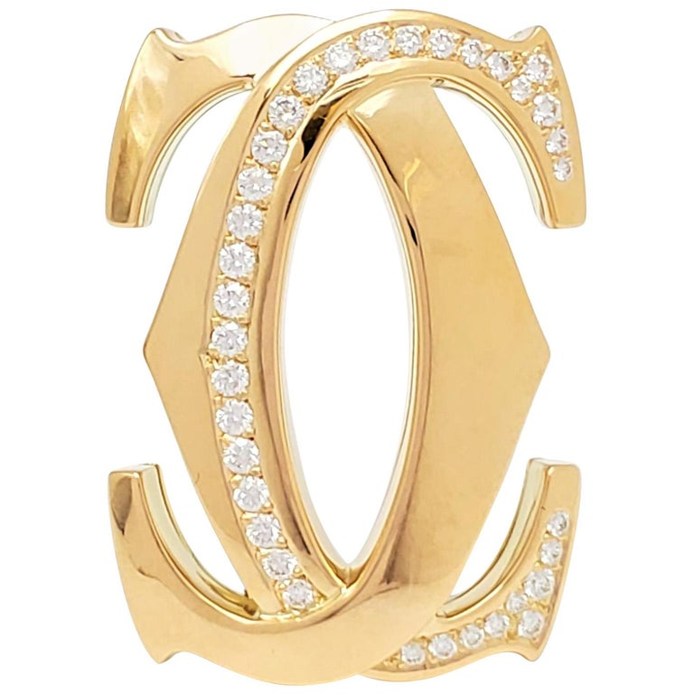Cartier 'Penelope' Double-C Yellow Gold and Diamond Pin For Sale