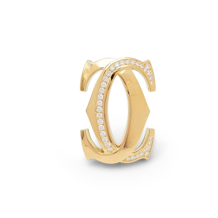 Round Cut Cartier 'Penelope' Double-C Yellow Gold Diamond Suite For Sale