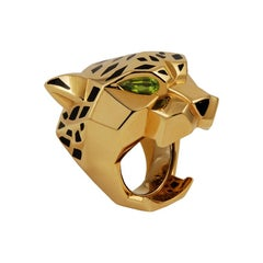 Cartier Peridot and Onyx Panther Head Ring