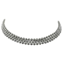 Cartier Perles De Diamantes 18 Karat White Gold Choker