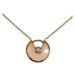 Cartier Pink Opal Rose Gold Amulette Pendant Necklace