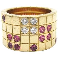 Cartier Pink Sapphire and Diamond Lanieres Ring 18 Karat Gold