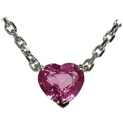 Cartier Pink Sapphire Heart White Gold Necklace Papers