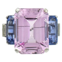 Cartier Pink Topaz, Blue Sapphire and Diamond Ring
