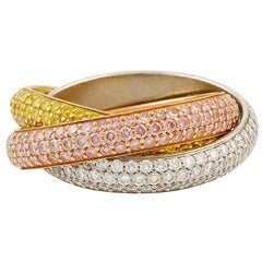 Cartier Diamond Pink Yellow and White Gold Trinity Band Ring