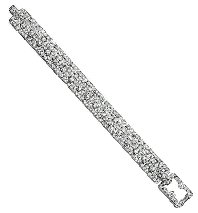 Old European Cut Cartier Platinum and Diamond Art Deco Bracelet For Sale