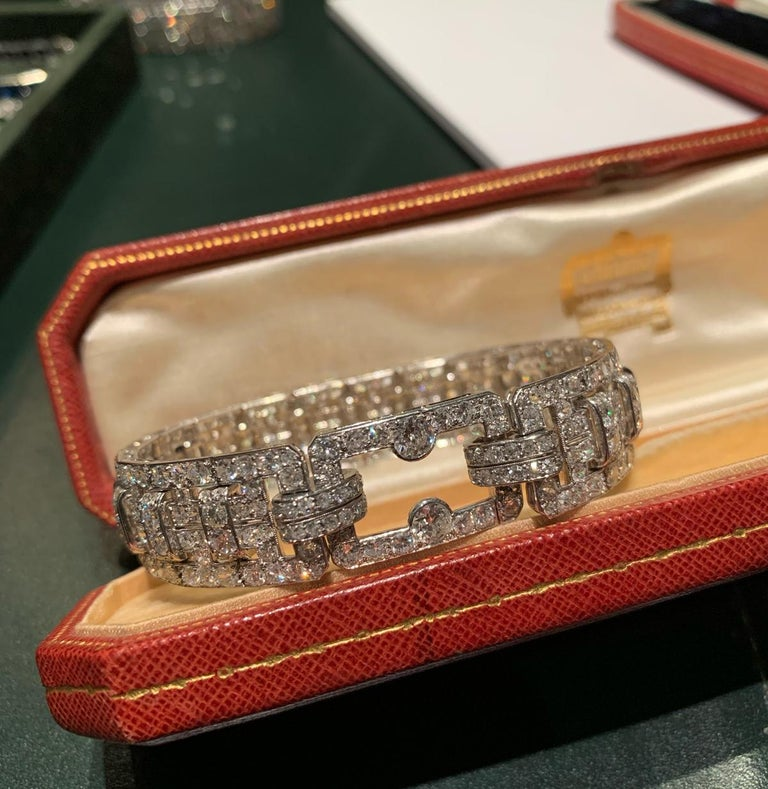 Cartier Platinum and Diamond Art Deco Bracelet In Excellent Condition For Sale In New York, NY