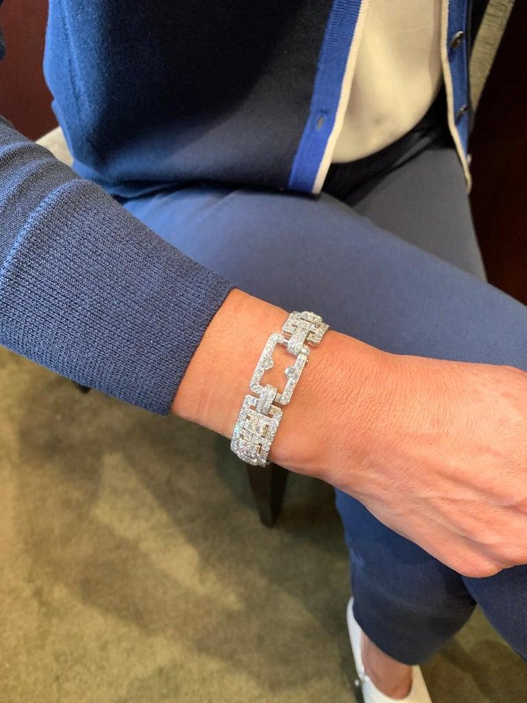 Women's or Men's Cartier Platinum and Diamond Art Deco Bracelet For Sale