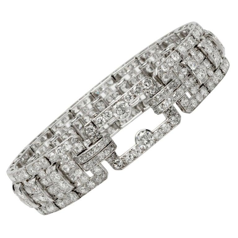 Cartier Platinum and Diamond Art Deco Bracelet For Sale
