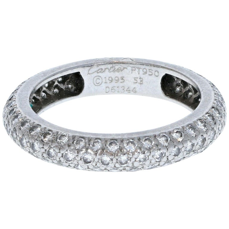 Cartier Platinum and Pave Diamond Ring 1.50 Carat 4.4g For Sale