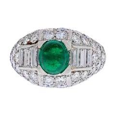Cartier Platinum Cabochon Emerald and Diamond Vintage Ring