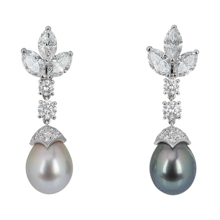 Cartier Platinum Cartier de Lune Diamond and Pearl Earrings