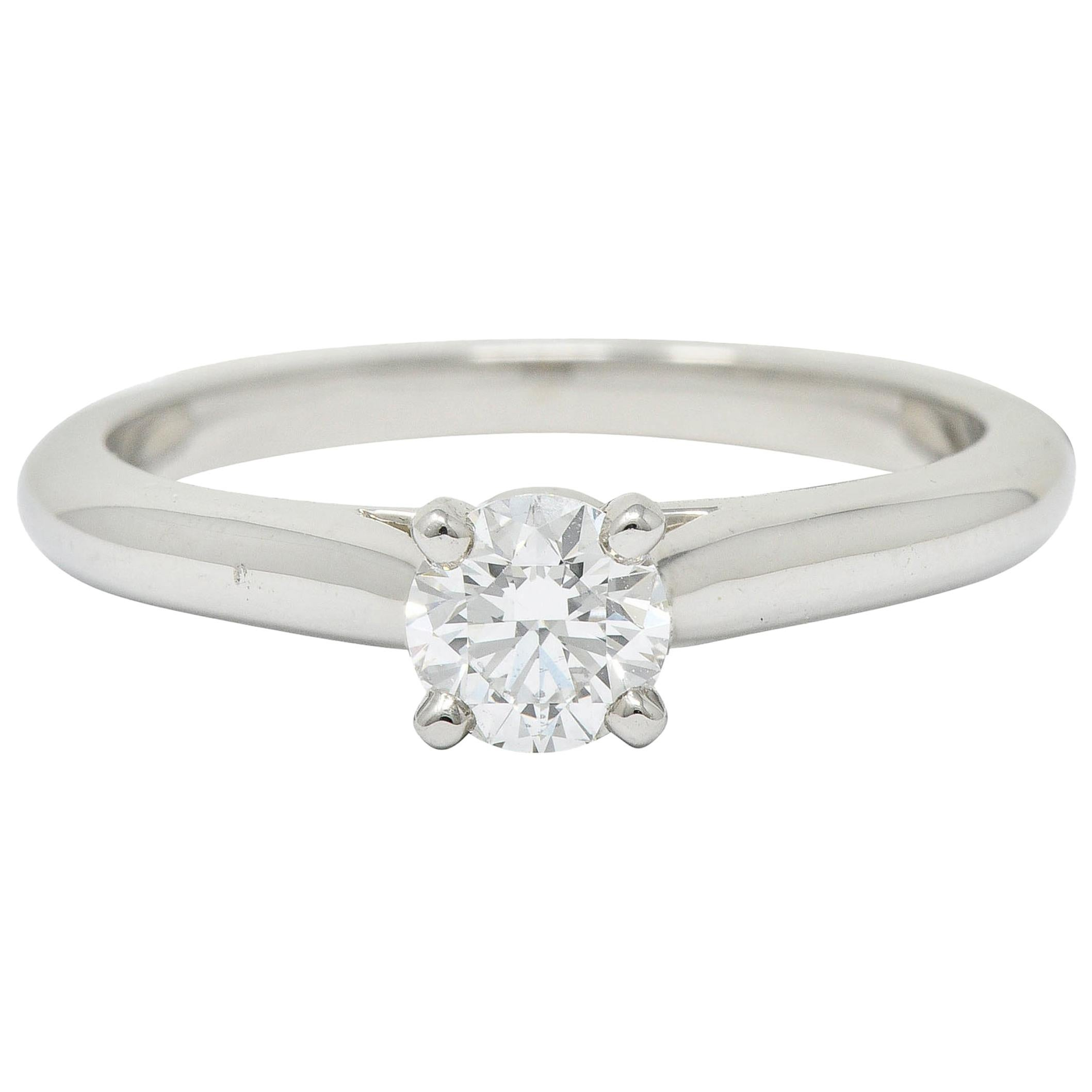 Cartier Platinum Cathedral Solitaire Round Brilliant Diamond Engagement Ring