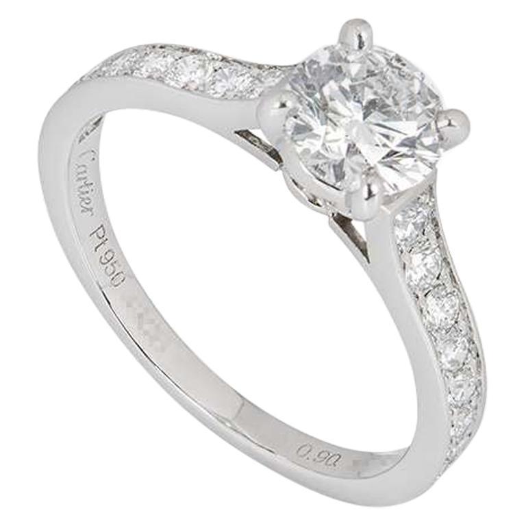 Cartier Platinum Diamond 1895 Solitaire Ring 0.90 Carat E/VS2 GIA Certified