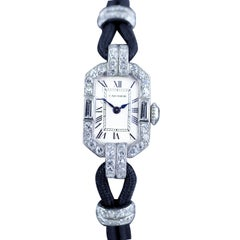Cartier Platinum Diamond Art Deco Wristwatch, circa 1925