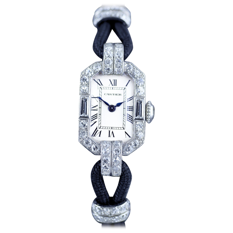 Cartier Platinum Diamond Art Deco Wristwatch, circa 1925