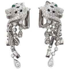 Cartier Platinum Diamond, Emerald and Onyx Statement Panthère Earrings