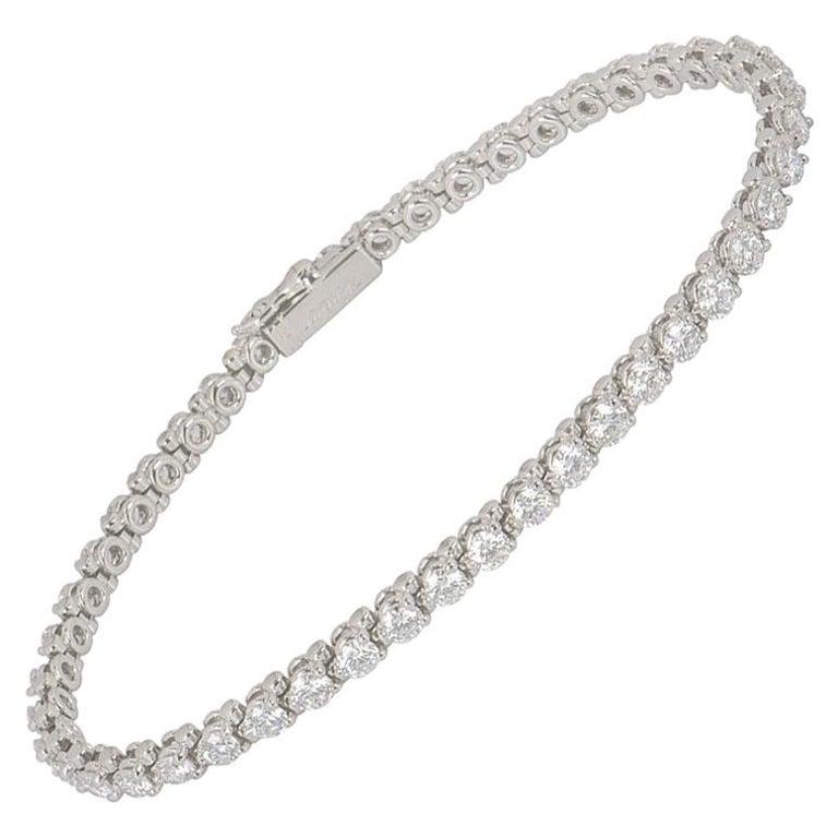 Cartier Platinum Diamond Line Tennis Bracelet 4.60 Carat For Sale