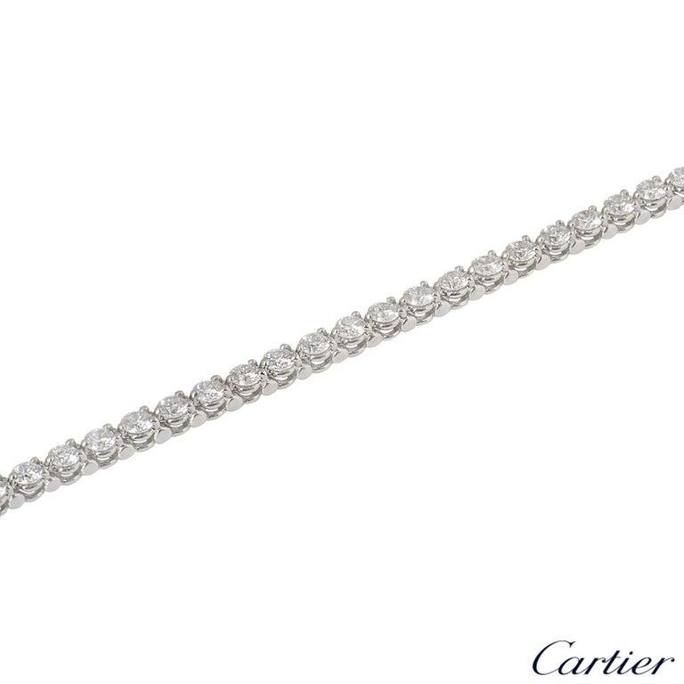 Cartier Platinum Diamond Line Tennis Bracelet 4.60 Carat In Excellent Condition For Sale In London, GB