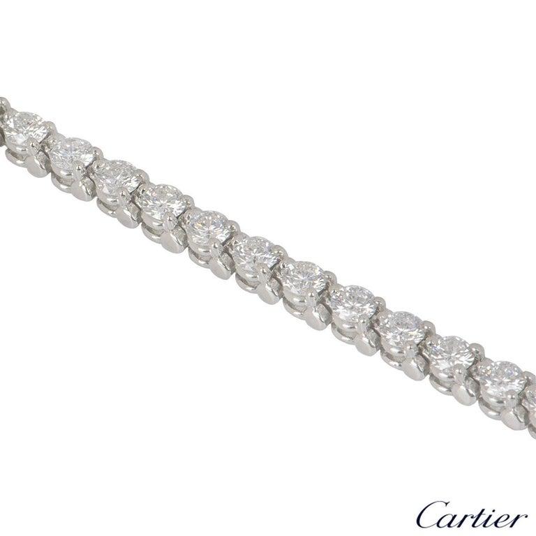 Women's Cartier Platinum Diamond Line Tennis Bracelet 4.60 Carat For Sale