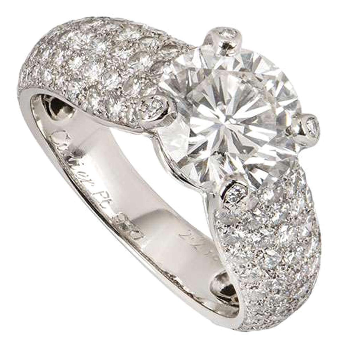 Cartier Platinum Diamond Luna Engagement Ring 2.24 Carat