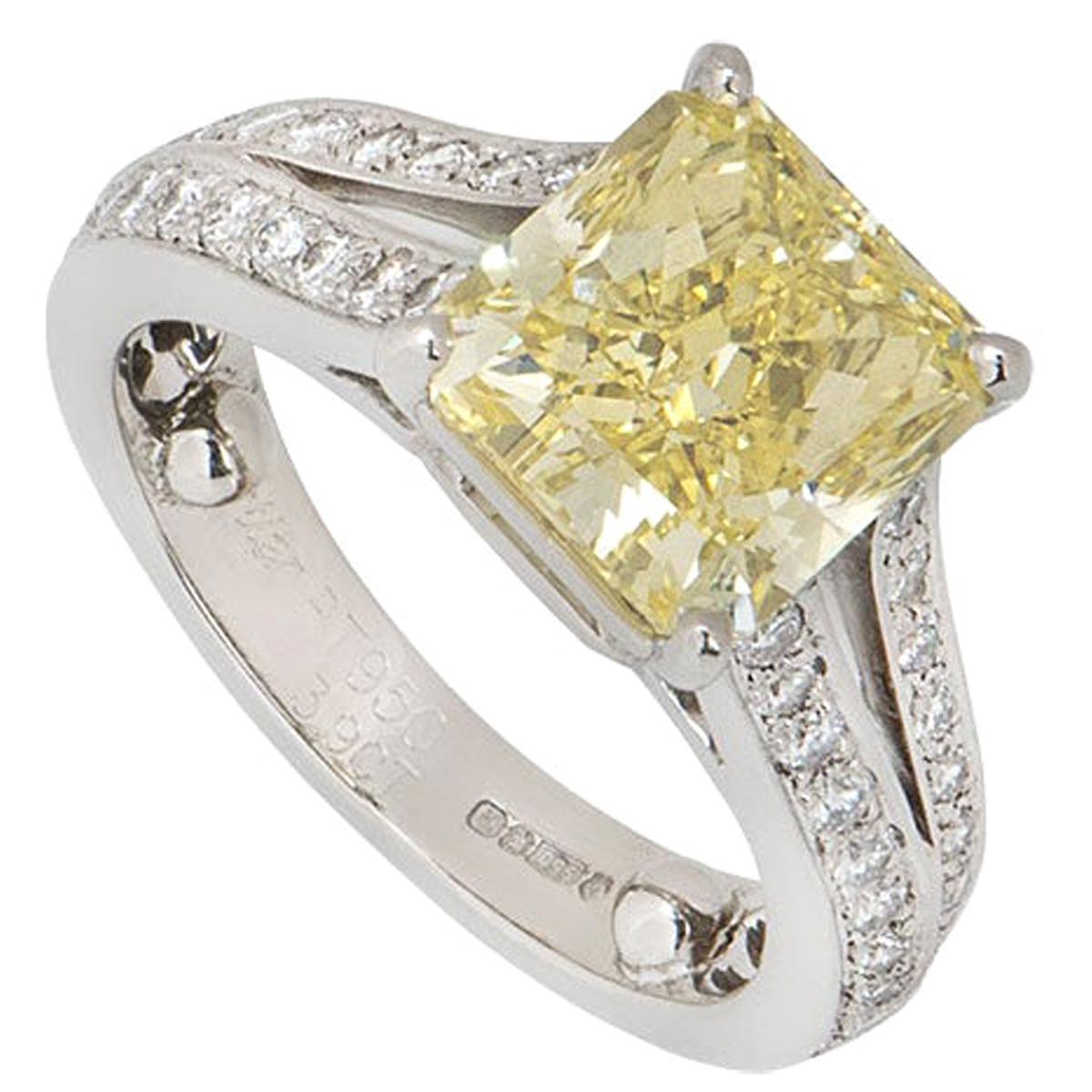 Cartier Platinum Fancy Intense Yellow Diamond Adele Engagement Ring 3.90 Carat