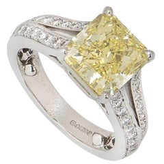 Cartier Platinum Fancy Intense Yellow Diamond Adele Engagement Ring 3.90 Carat