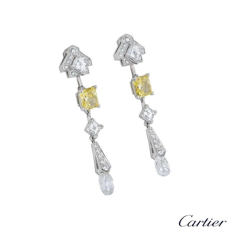 Cartier Platinum Mousseline Fancy Vivid Yellow Radiant Cut Diamond Drop Earrings In Excellent Condition For Sale In London, GB