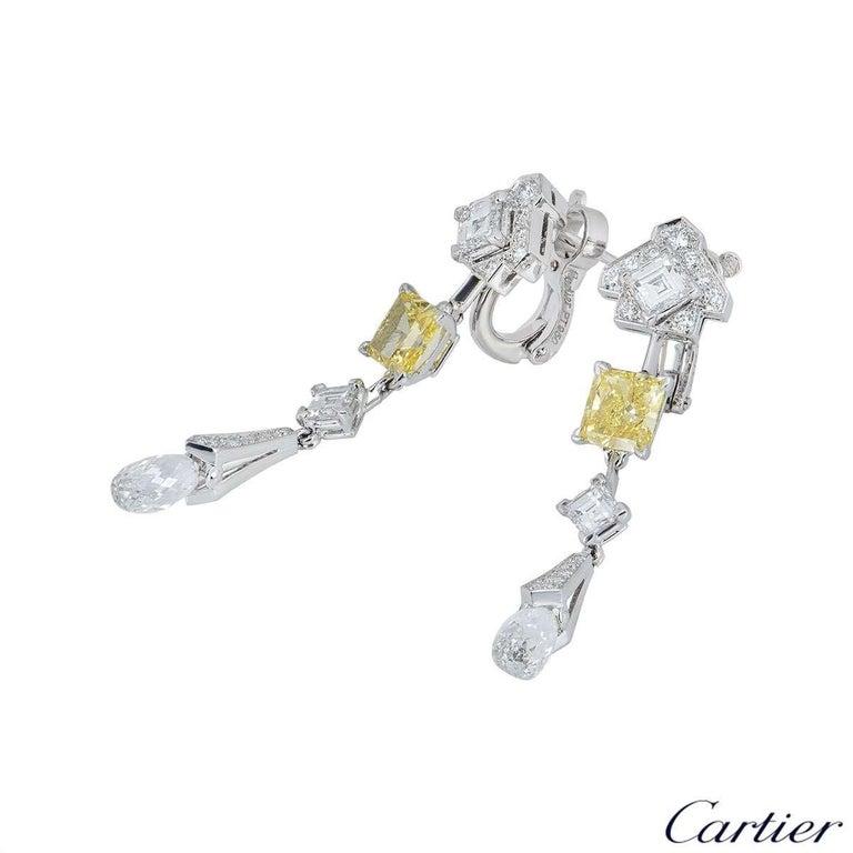 Women's Cartier Platinum Mousseline Fancy Vivid Yellow Radiant Cut Diamond Drop Earrings For Sale