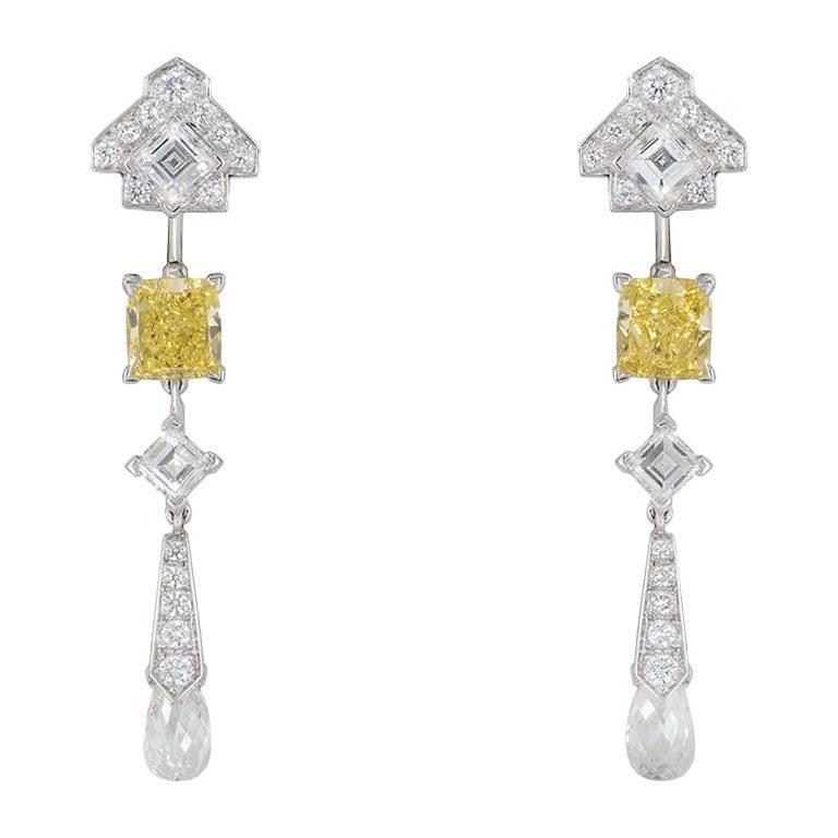 Cartier Platinum Mousseline Fancy Vivid Yellow Radiant Cut Diamond Drop Earrings For Sale