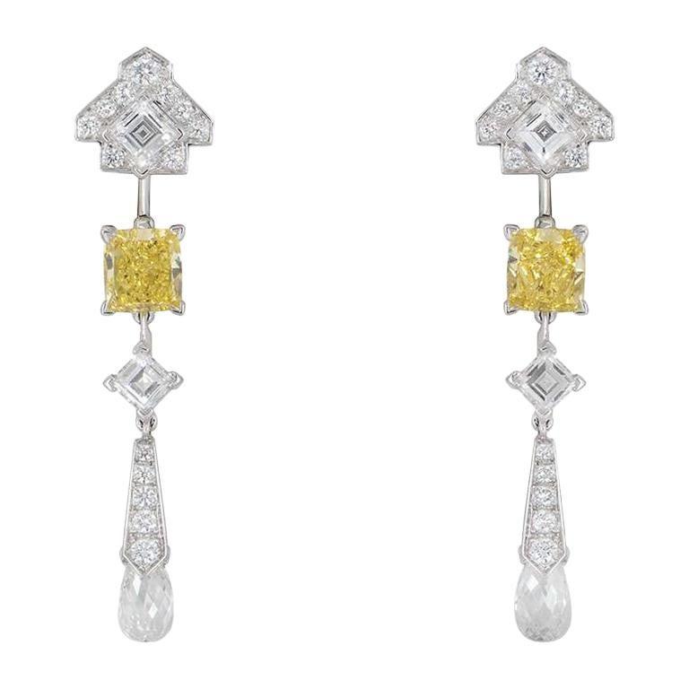 Cartier Platinum Mousseline Fancy Vivid Yellow Radiant Cut Diamond Earrings