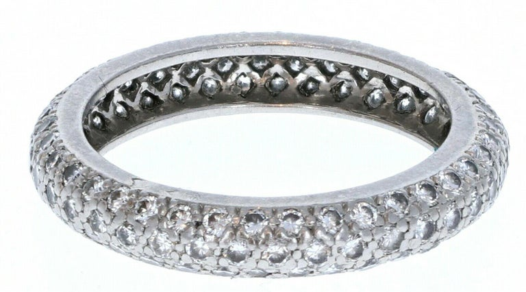 Cartier Platinum & Pave Diamond Ring 1.50 ctw Size 53 4.4g    For sale is a Cartier pave diamond band crafted in platinum.  The ring is comprised of round brilliant cut diamonds. Approx. 1.50 ctw Refer to pictures for condition.  This ring is fully