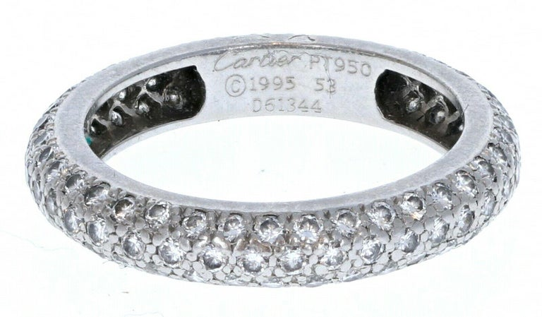 Round Cut Cartier Platinum and Pave Diamond Ring 1.50 Carat 4.4g For Sale