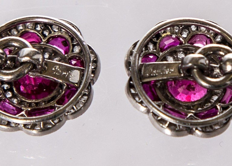 Women's or Men's Cartier Platinum Ruby and Diamond Cufflinks For Sale