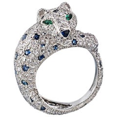 Cartier Platinum Sapphire and Diamond Panther Pave Ring