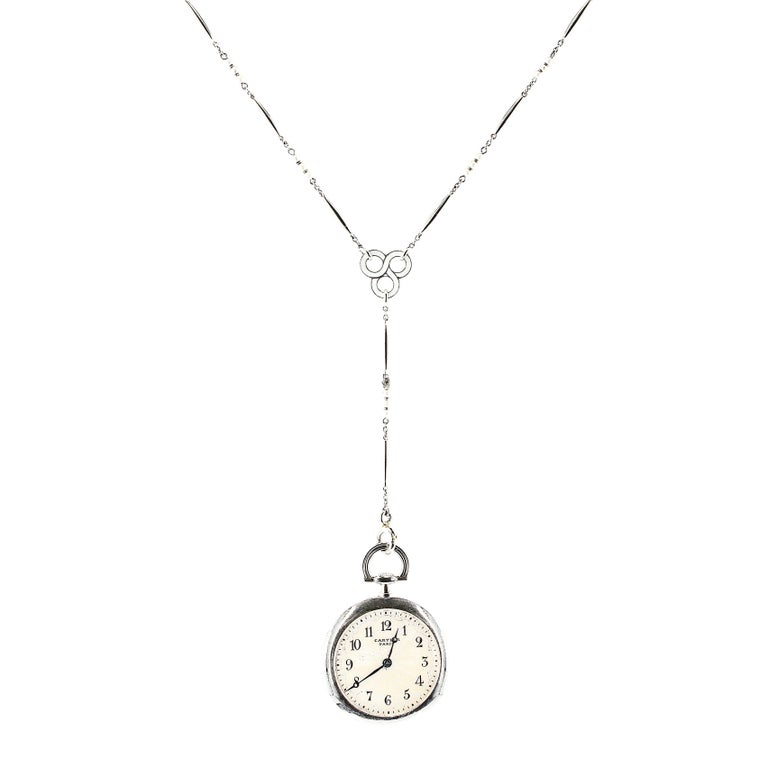 Cartier Platinum Seed Pearl Enamel Pocket Watch Pendant Necklace, 1920s