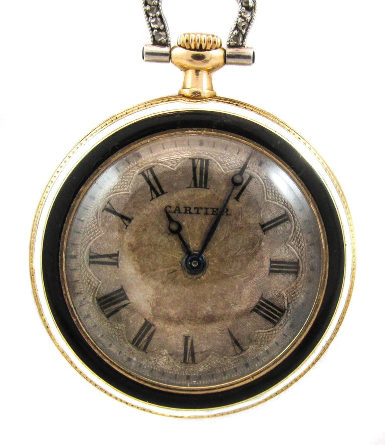 Art Deco Cartier Platinum Yellow Gold Diamond Black Enamel Pendant Watch Necklace For Sale