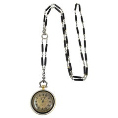 Cartier Platinum Yellow Gold Diamond Black Enamel Pendant Watch Necklace