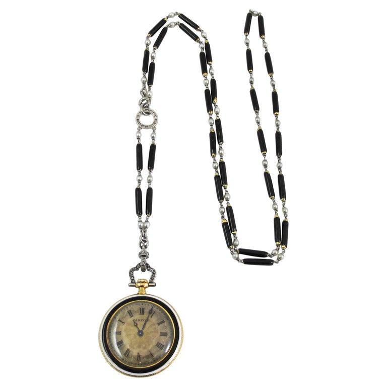 Cartier Platinum Yellow Gold Diamond Black Enamel Pendant Watch Necklace For Sale