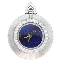 Cartier Pocket Watch 18 Karat White Gold, Lapis Lazuli Dial