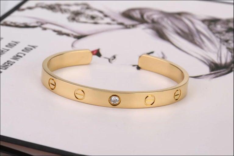 Women's or Men's Cartier Pre-Owned Love 1 Diamond 18K Yellow Gold Bracelet